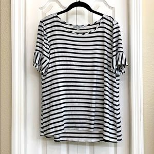 Black and White Striped Short Sleeve Shirt